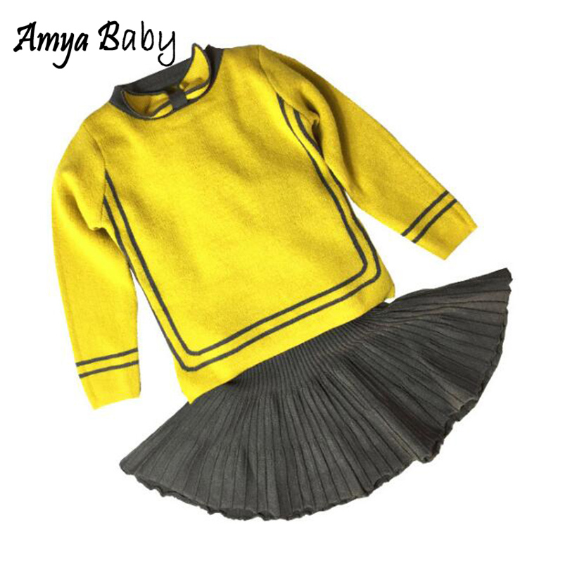 Amya Baby Children Clothing Set Knitted Sweater + Skirt 2pcs Girls Fall Outfits Toddler Girl Clothes Kids Thanksgiving Outfits