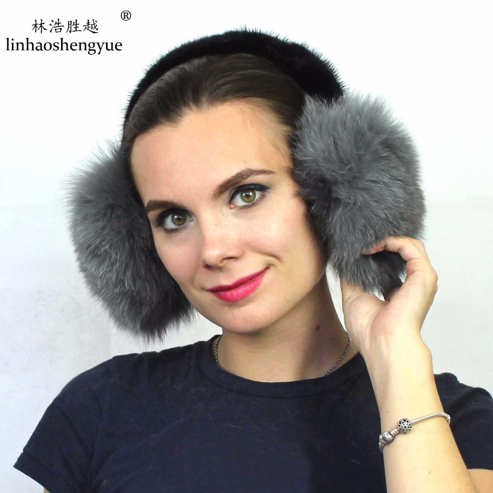 Linhaoshengyue  New Arrival! 100% Fox Fur Ear Cover With Mink Fur Ear Cage Winter Warm