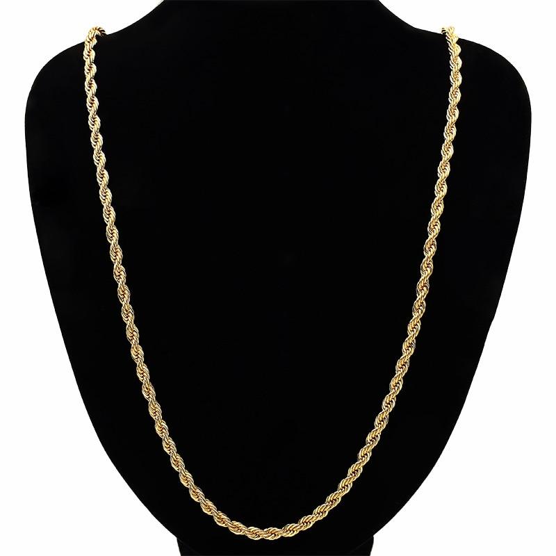 cdfb5e163d26 Larga bailarinas hip hop joyería mujer cadenas de oro gruesa cadena cordón  trenzado accesorios de oro lleno 2015 N184 en Collares de cadena de Joyería  y ...
