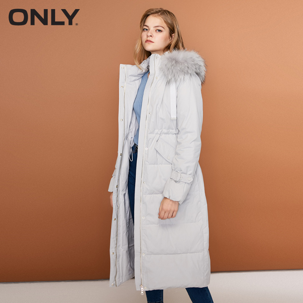 ONLY  Women's Cinched Waist Overknee Straight Fit White Duck Down Jacket  118312556