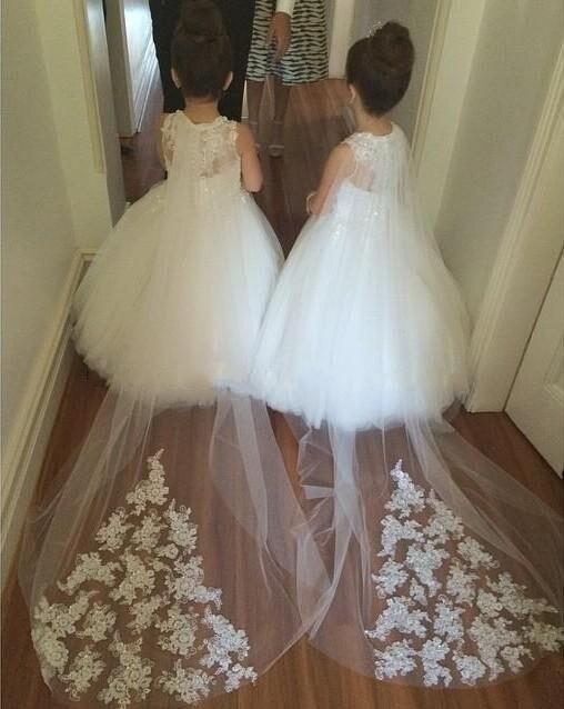 5f2efc1b003ac US $72.68 8% OFF|Aliexpress.com : Buy Vestidos De Primera Comunion scoop  Floor Length Tank Ball Gown Tulle Appliques Flower Girl Dresses For  Weddings ...