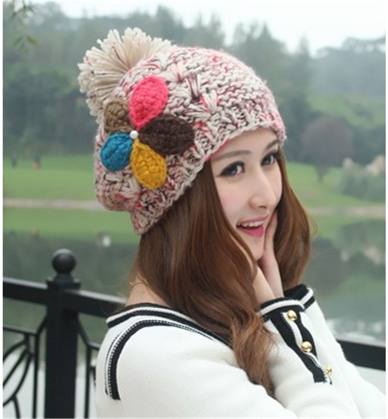 Cute Korean Women Winter Hats Fashion Lovely Hand knit Wool Cap Girls  Beanies Warm Knitting Hats For Women on Aliexpress.com  16aa2c0cfda