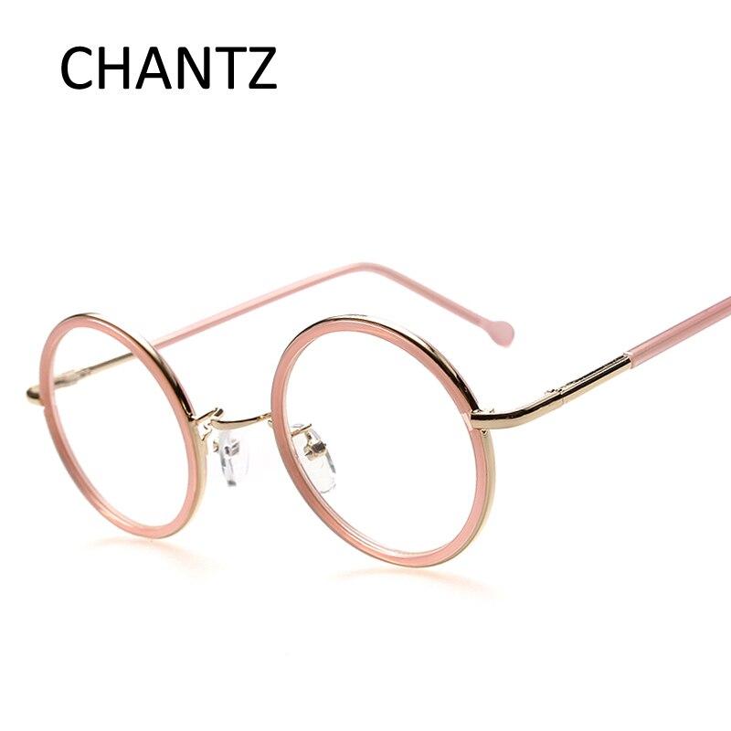 Retro Round Metal Glasses Frames Women Men Vintage Clean Lens ...