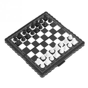 Przenośne plastikowe składane szachownica magnetyczne szachy zestaw gra planszowa międzynarodowe szachy gry dla imprez rodzinnych tanie i dobre opinie Magnetic Chess VBESTLIFE 5 lat Szachy warcaby Z tworzywa sztucznego Plastic Other