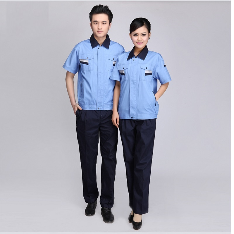 (10 Set-Shirt&Pant)three Color Short-sleeved Worker Clothes Suit Male Mechanics Smock Summer Half Sleeve Engineering Uniforms