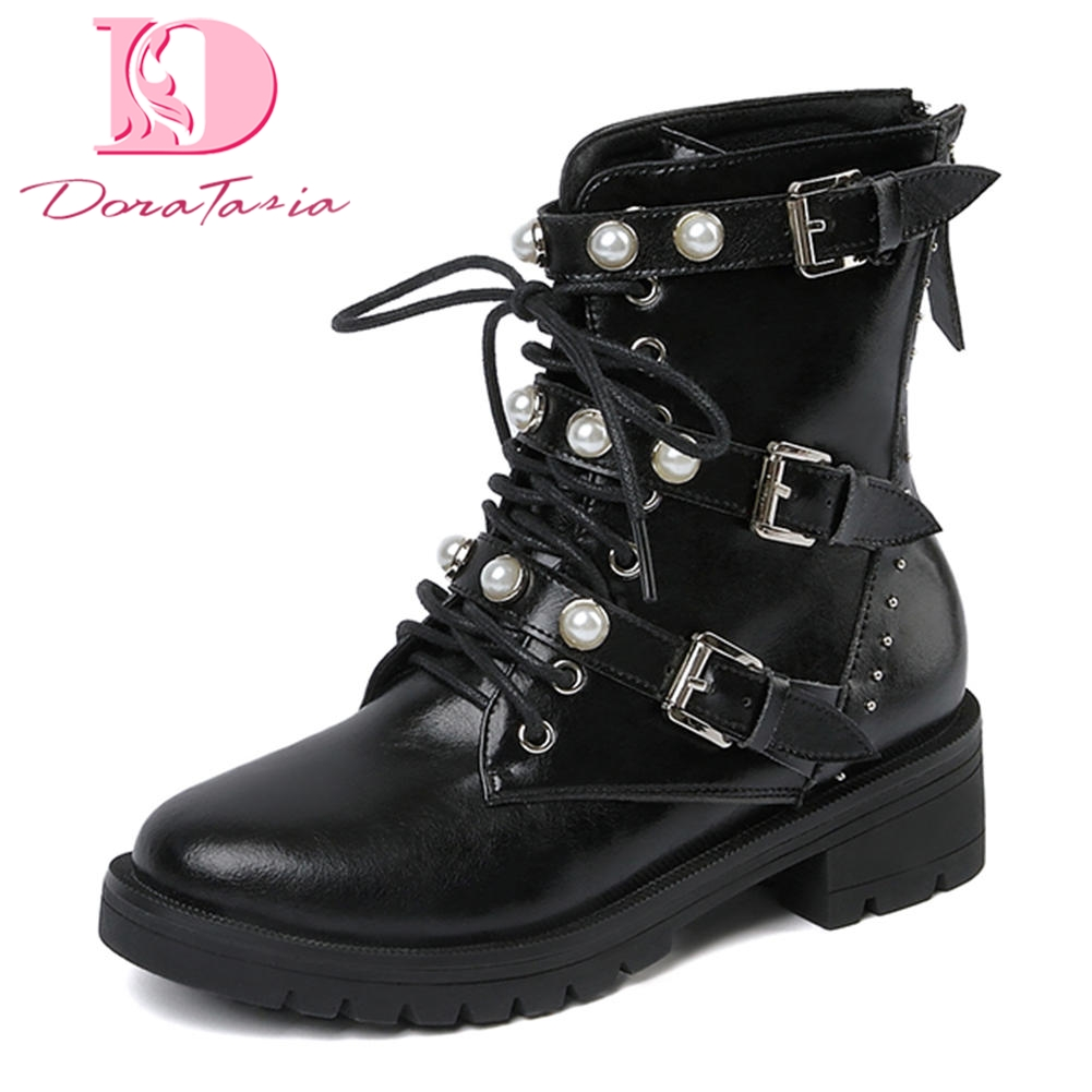 Doratasia/Ботинки martin из натуральной кожи для отдыха, женская обувь с жемчугом, повседневные ботинки с 3 пряжками, женские ботинки