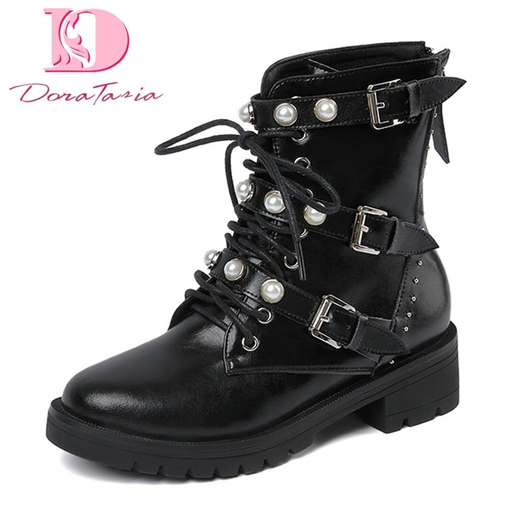 Doratasia Véritable En Cuir Loisirs Martin Bottes Perle Femme Chaussures Casual 3 Boucles Bottes Chaussures Femme Femme Boot