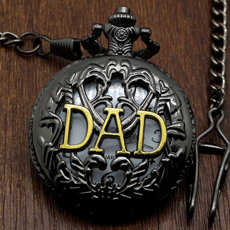 Antique Style Father's Gift Hollow Black Quartz Pocket Watch Fob Pendant Gold DAD Steampunk Fashion Mens