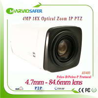 H.265 4MP IP PTZ Network Box Camera Module CCTV IPCam 4.7 84.6mm 18X Optical Zoom PELCO D/PELCO P, Sony Visa etc RS485 Onvif