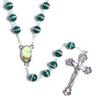 New Fashion Round Green Stone Beads Our Lady of Fatima Catholic Chain Rosary Necklace