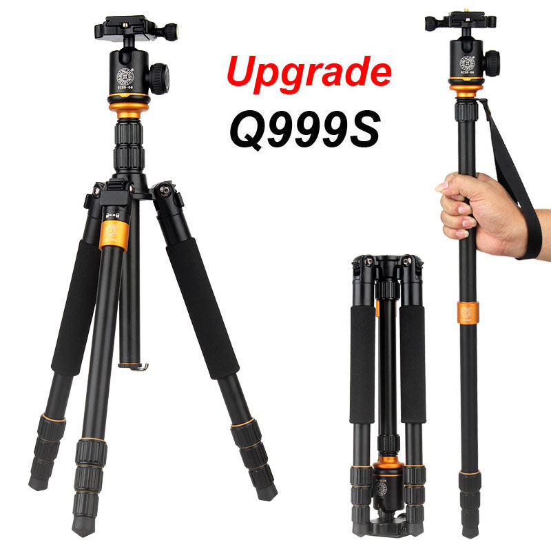 QZSD Q999S Ultra Compact and Lightweight Portable Aluminum Camera Tripod with Ball Head Monopod For Canon Nikon Sony DSLR Camera bexin lightweight camera tripod aluminum desktop photography compact mini tripod with swivel ball head for canon dslr camera