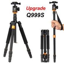 QZSD Q999S Ultra kompakt ve hafif taşınabilir alüminyum kamera tripodu topu kafa ile Monopod Canon Nikon Sony DSLR kamera