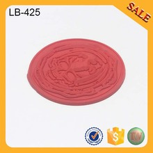 LB425 Custom round clothing logo labels personalized garment tags silicone rubber label
