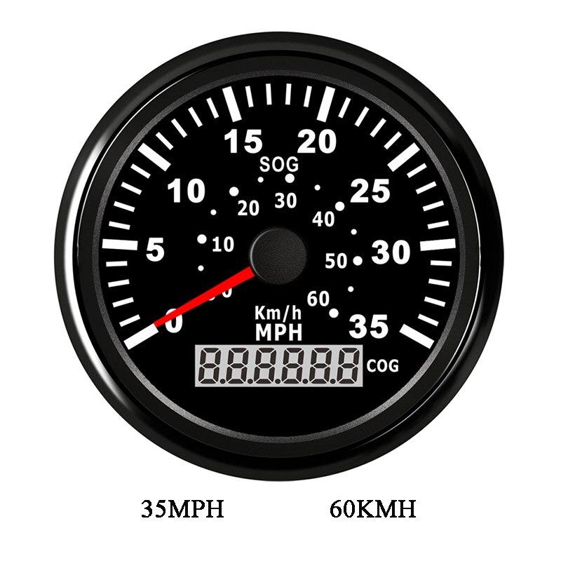 85mm GPS jauge de vitesse numérique LCD odomètre compteur 35MPH 60 km/h capteur de compteur de vitesse pour moto pour voiture BMW E46 bateau 9 ~ 32 V
