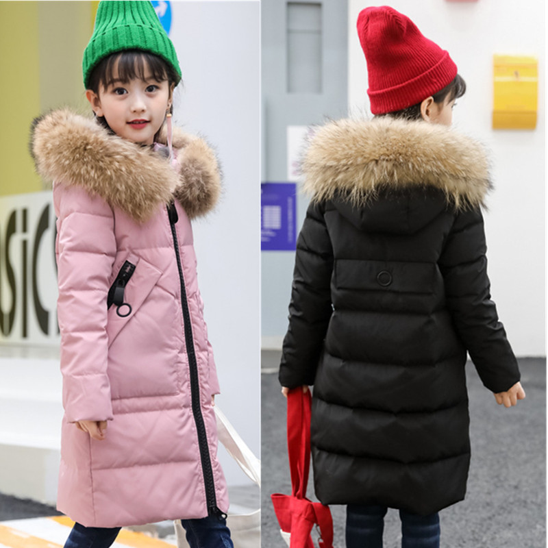 HSSCZL Girls Down Jackets Duck 2018 New Winter Long Thicken Hooded Natural Fur Collar Overcoat Outerwear Children Down Coats buenos ninos thick winter children jackets girls boys coats hooded raccoon fur collar kids outerwear duck down padded snowsuit