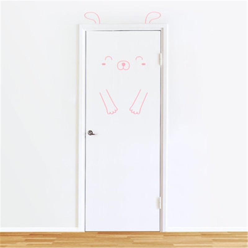 Lovely Piggy Door Wall Stickers For Kids Room Decorations Nursery Children Bedroom Decals Animal Mural Arts Wallpaper