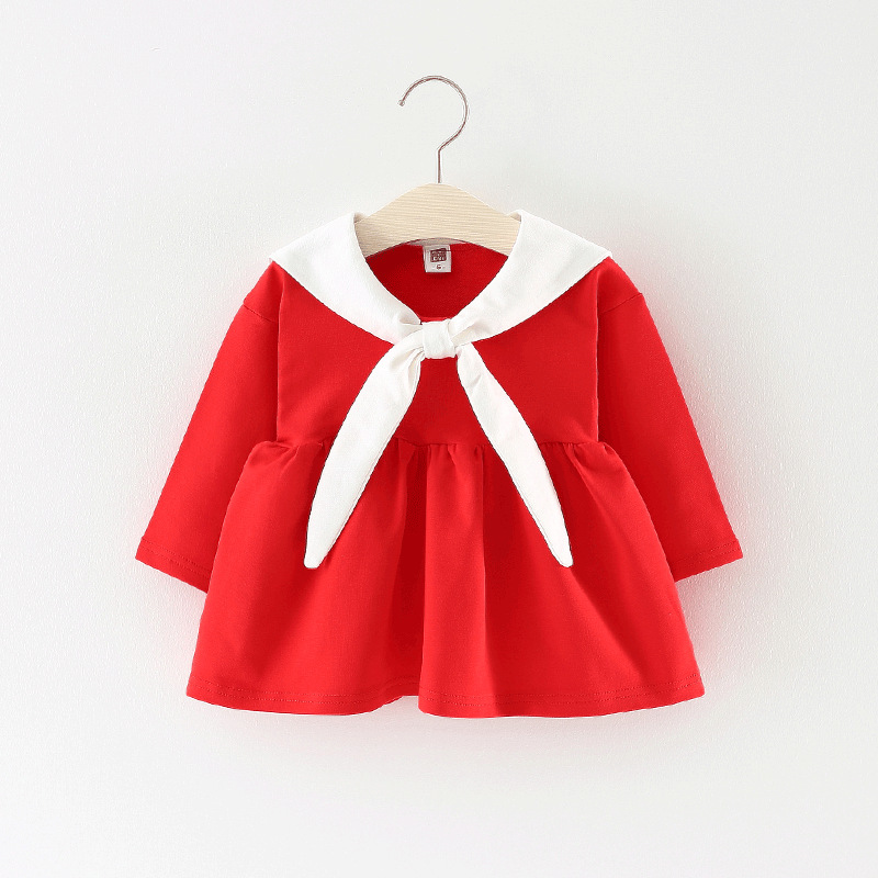 Todder girls clothing 2018 spring new Navy style Cotton A line dress for 0-4 year baby girls dresses cute outwear