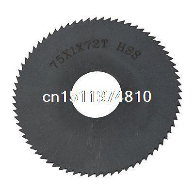 Hand Tool Cutting Blade Black HSS Mill Cutter 75mm Dia 72 Teeth 6cm x 0 05cm x 1 6cm 72 teeth hss slitting saw blade cutting tool