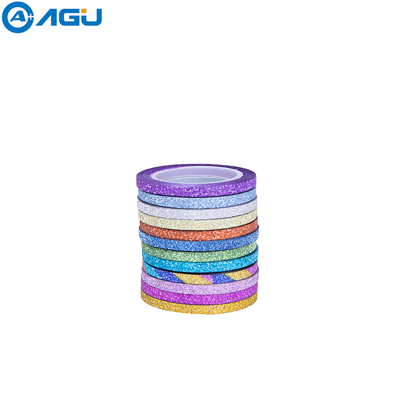 AAGU 12PCS/Set 3MM*5M Colorful Glitter Washi Tape Set OfficE Supplies Single Sided Adhesive Tape Set  Decorative Paper Tape Set