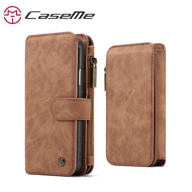 עבור iPhone XR XS מקס ארנק מקרה Caseme עור ארנק תיק чехол книжка на айфон 7 8 плюс רוכסן Flip ספר מקרה עם כרטיס חריצים