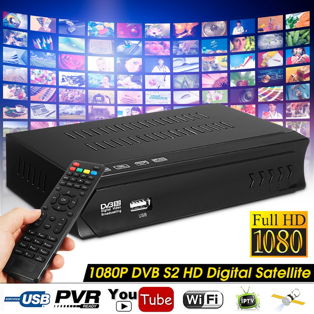 EU US Plug Satellite Receiver TV 1080P DVB-S2 HD Digital Satellite TV BOX Receiver USB WIFI W/Remote Control Wifi Support openbox x5 1 2 led high definition satellite tv receiver black eu plug
