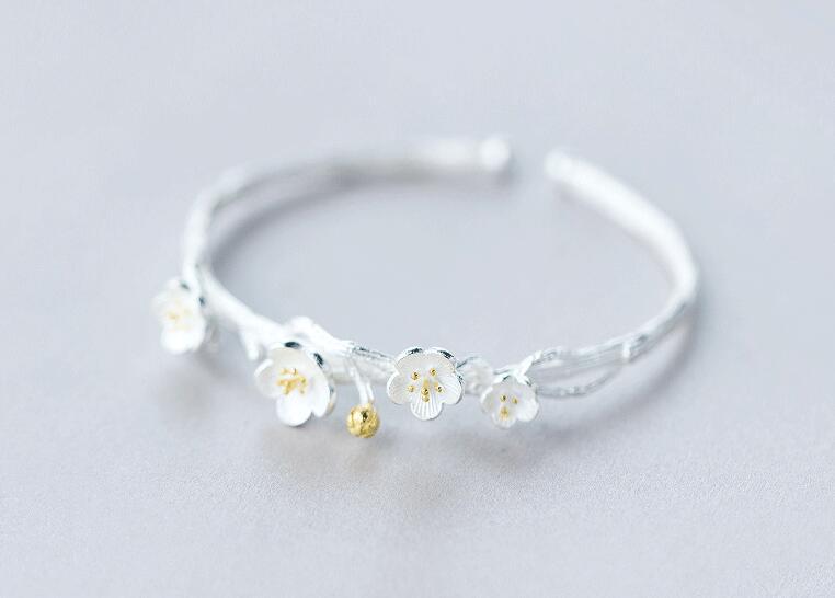 100% Real. 925 Sterling Silber Edlen Schmuck Goldenen Lotus Kirsche Blume Armreif Gtls508 GroßEr Ausverkauf