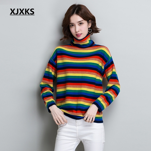 0a361e4c9875 XJXKS Rainbow Turtleneck Sweater Women Winter 2019 Jumpers Knitted Clothes  Fashion Wool Sweaters Striped Nice Pullover Hot Sale