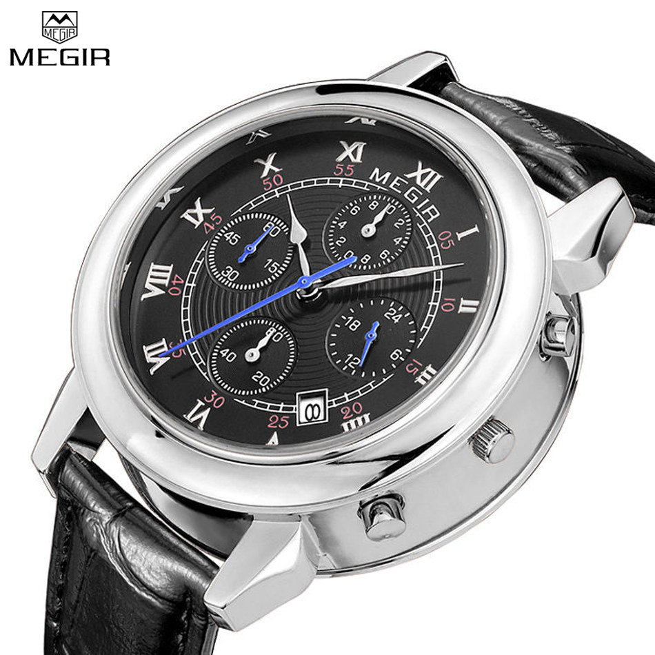 MEGIR Multiple Time Zone Men's Quartz Watch Fashion Leather Military Style Analog Wristwatch Men Chronograph Brand Watches weide new men quartz casual watch army military sports watch waterproof back light men watches alarm clock multiple time zone