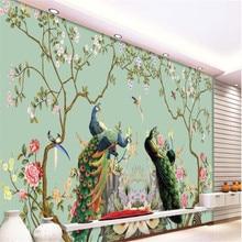Beibehang-papel tapiz de Gran mural personalizado, ilustración de pavo real, pájaro floral europeo, papeles pintados de fondo para pared, papel de par 3 d
