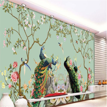 beibehang Custom large mural wallpaper European floral bird peacock illustration background for walls 3 d papel de par