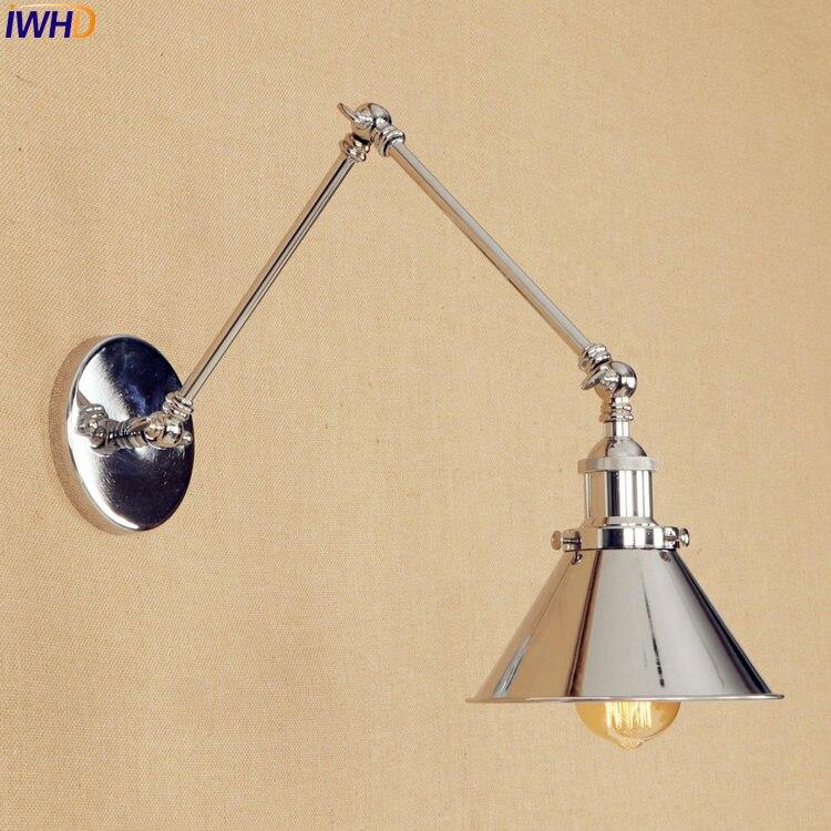 Silver Long Arm LED Wall Light Up Down Dinning Room Iron Loft Indutrial Vintage Wall Lamp Sconce Edison Arandelas Stair Lighting