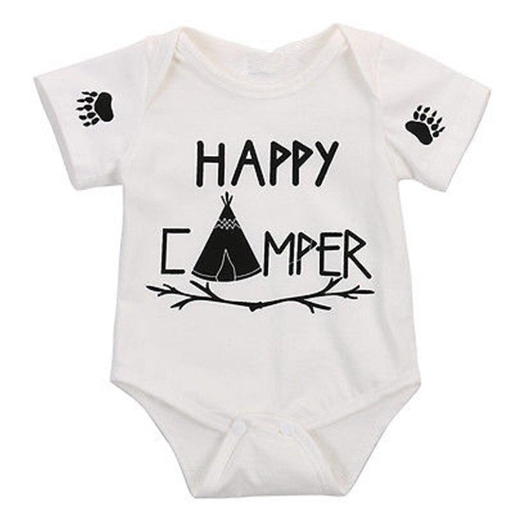 Летняя одежда комплект для новорожденных Детская одежда хлопок письмо с короткий рукав Комбинезоны одежды цельный