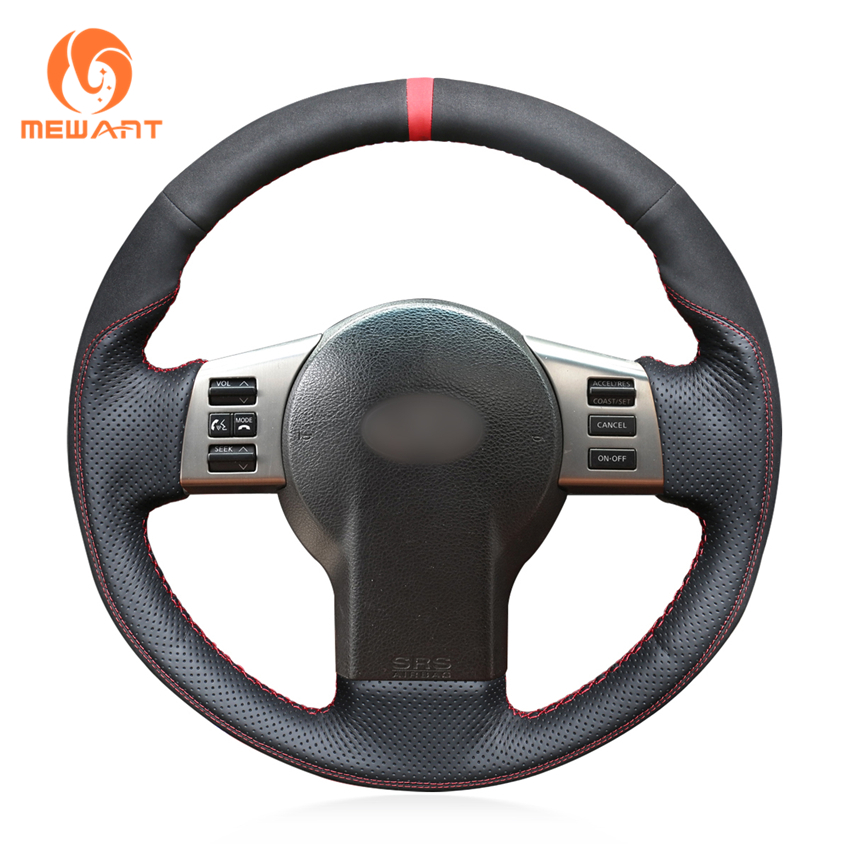 MEWANT Black Genuine Leather Car Steering Wheel Cover for Infiniti FX FX35 FX45 2003-2008 Nissan 350Z 2003-2009