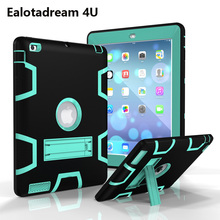 High Duty For Apple iPad 2 iPad 3 iPad 4 Armor Shockproof Case Silicone +PC Stand Cover For iPad 2 3 4 Armor Kickstand Cover