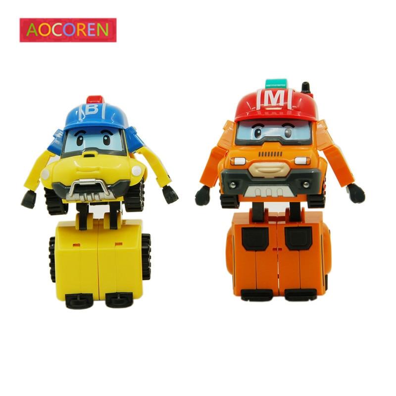 Aocoren robot poli robocar Corea juguete poli robocar Bucky marca transformación Juguetes anime figuras de acción niños Juguetes regalos 2 unids/set