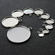 6/8/10/12/14/16/18/20/25/30mm DIY Jewelry Necklace Round Blank Stainless Steel Cabochon Base Cameo Setting Charms Pendant Tray(China)