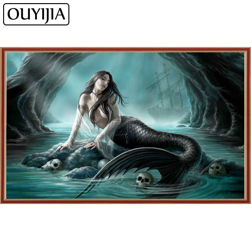 Detail Feedback Questions about OUYIJIA Siren Mermaid 5D DIY Diamond  Painting Square Skull Rhinestone Cross Stitch Animal Embroidery Mosaic Home  Decoration ... 286926d31532