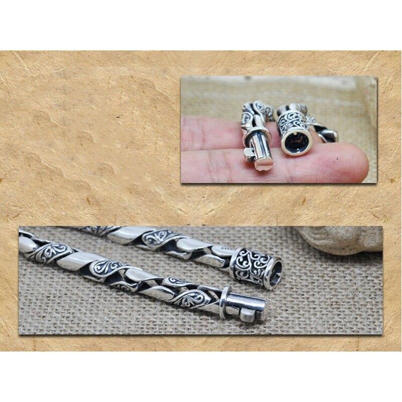 Pulseras de plata de ley 925 100% auténtica para hombres Retro diseño negro joyería de plata sólida genuino S925 pulsera de plata para hombres HYB22 - 4