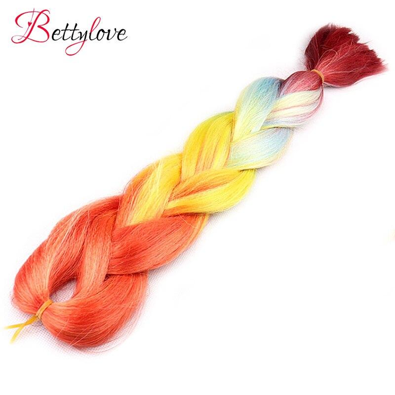 Ombre косы синтетических Kanekalon твист вязаный крючком плетения волос с 4 цвета Jumbo прическа 24 дюйм(ов)