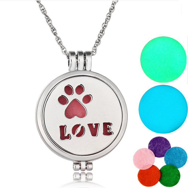 Diffuser Footprint Love Mini Necklace Lockets scent Essential Oil Aromatherapy