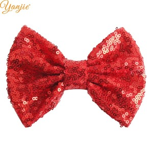 """Image 4 - DHL 300pcs/lot 5"""" Sequin Bow Girls Solid Glitter Knot Hair Bow For Kids 2020 DIY Hair Bow Headband Girls Hair Accessories"""