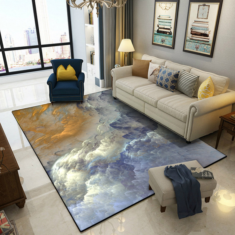 Abstract beautiful clouds blue gold white home bedroom bedside entrance elevator floor mat sofa coffee table anti slip carpet-in Carpet from Home & Garden