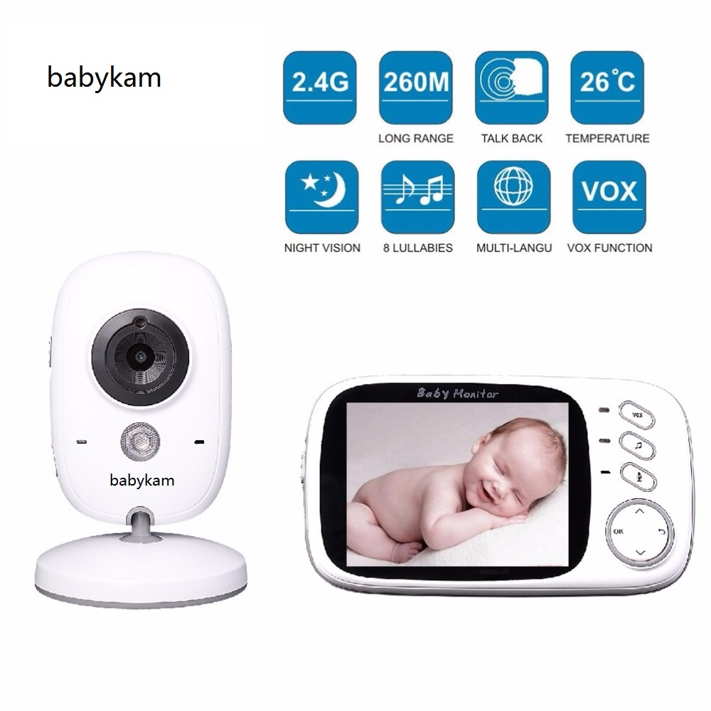 Babykam 3.2 inch LCD bebek kamera baby monitor IR Night vision Baby Intercom Lullabies Temperature monitor baby camera monitor
