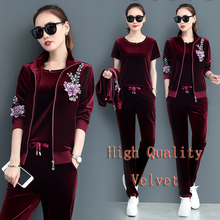 Outfit tracksuit sportswear co-ord set cloth for women velvet 3 2 piece winter autumn matching embroidery top wide pant suit