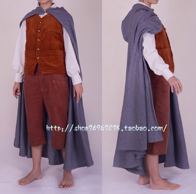 The Hobbit frodo Outfit Suit Cosplay Costume Full Set film The Lord of the Rings Custom made top+coat+vest+pant