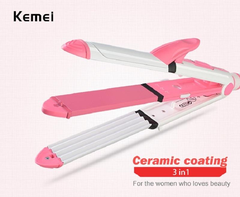 KeMei New 3 In 1 Hair Straightener EU Plug Hair Curling Iron Multifunction corrugated Flat Iron Corn Plate Heated Roller KM-1213