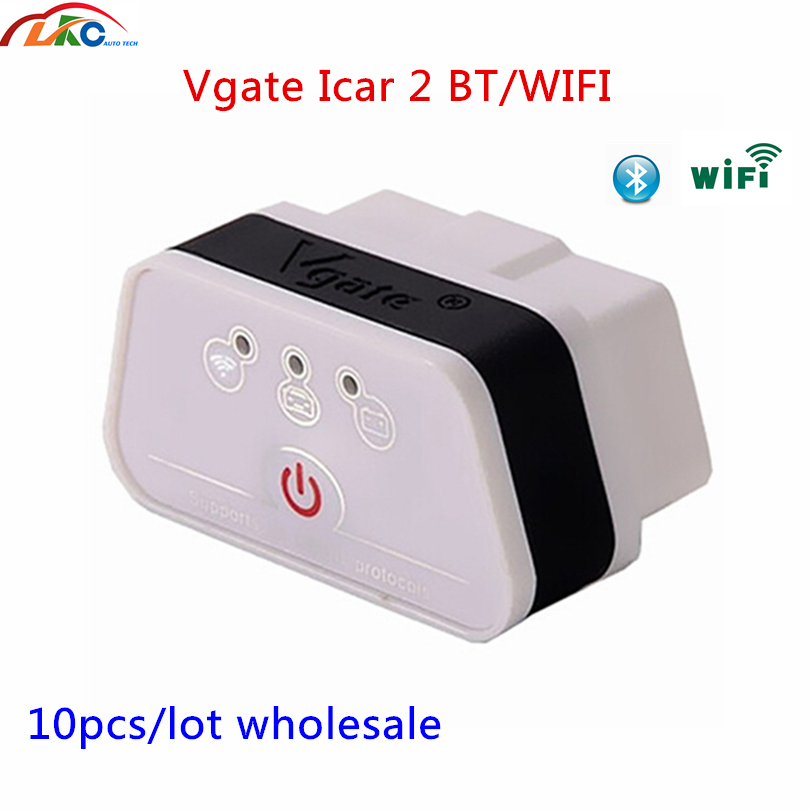 10pcs/lot <font><b>Vgate</b></font> ICar2 ELM327 <font><b>OBD</b></font> OBD2 V2.1 WIFI Bluetooth Scanner Diagnostic Tool For Android/Iphone/PC/ios free shipping image