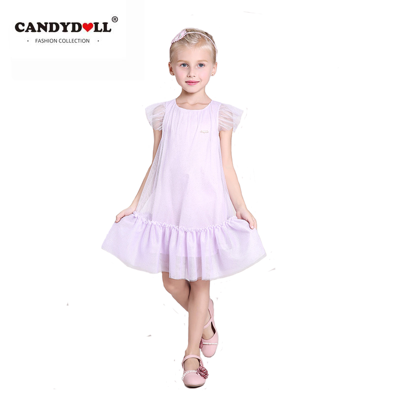 CANDYDOLL Summer Girls Dress Baby Mesh Princess Dresses Child Sweet knee-length a line petal sleeve Clothing europen style