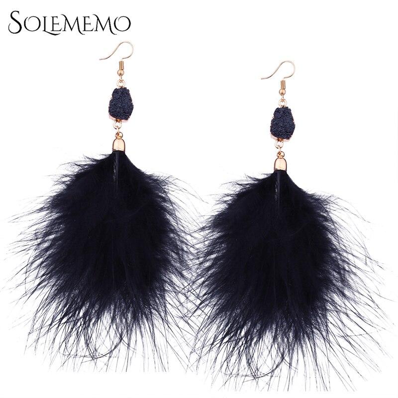 Solememo New Fashion Boho Earrings For Women Temperament Fluffy Feather Dangle Pendant Statement Jewelry Ear Accessories E1842