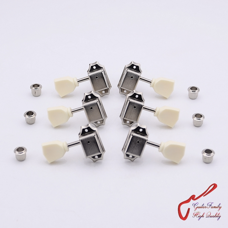 1 Set GuitarFamily 3R-3L Kluson Vintage Guitar Machine Heads Tuners For LP Electric Guitar Nickel ( #0291 ) MADE IN KOREA 1set guitarfamily 3r 3l vintage deluxe guitar machine heads tuners for gibson usa gold 1281 made in taiwan